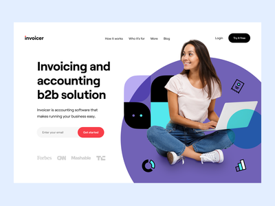 Invoicer: Landing page v2 webdesign web site web design b2b customer service product page landing page landing website site web dashboard e-finance financial services product design budget finance fintech accounting invoicing
