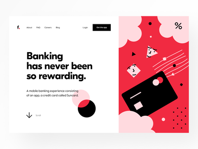 Landing page: Header web site webdesign web design customer service product page landing page website site web dashboard e-finance financial services product design finance fintech cash back card credit card banking