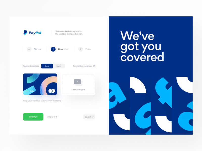 PayPal: Link a Credit Card user interface interface design system progress stepper application form web site website site web web design marketing page product design banking finance fintech onboarding credit card