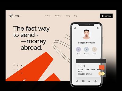Swap: Header exchange user interface interface web site website site web web design app design app e-finance application product design earnings finance fintech visual identity identity transfer portfolio