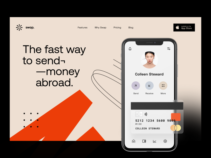 Swap: Header exchange user interface interface web site website site web web design app design app e-finance application product design earnings finance fintech visual identity identity transfer portfolio