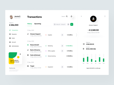 Bankomat: Transactions web site website web design web design system user interface site categories product design transfer app design interface fintech finance details transaction banking app application