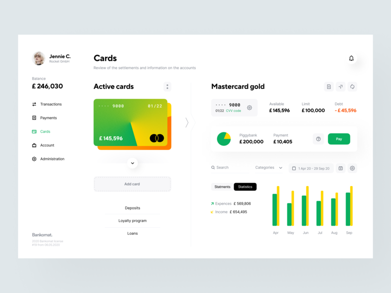 Bankomat: Cards website web design web design system user interface visual identity identity product design credit card statistic app design interface fintech finance services cards budget banking app application