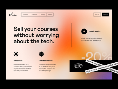 spike: homepage site website webinar web design web visual identity teach promo product page product design online memberships landing page landing identity e-learning education edtech courses app