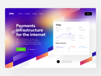 Stripe: Home page marketing site web site website web design header home page web visual identity product page product design landing page landing identity design identity payouts payments finance fintech