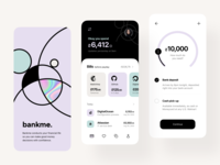 bankme: splash, overview, credit interfaces visual design e-finance mobile design ios mobile design system user interface visual identity identity product design credit transaction app design interface fintech finance services app application