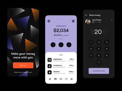 mobile banking: mobile app screens mobile dashboard product design ios app fintech finance