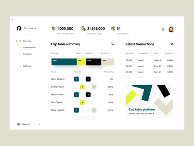 finance: cap table platform platform dashboard design overview dashboard web app web design fintech product design finance