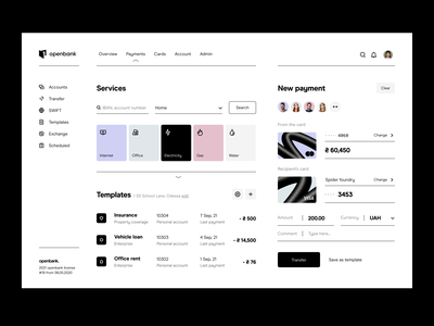 dashboard: payments - web application application personal finance finance fintech payments dashboard web application web app web