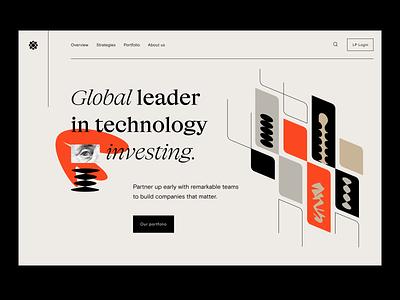 Web design: landing page fintech finance saas software enterprise management capital venture funding investing invest
