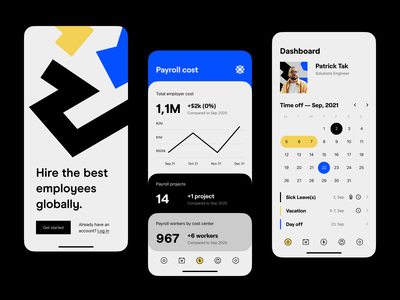 Product design: Splash, Payroll, Dashboard product design mobile remote teams taxes compliance global hr contractors remote management workforce hr onboard employee global payroll hire payroll