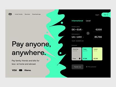 Money transfer: Web design web design