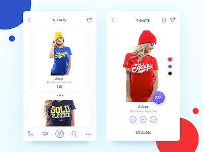 Clothes Shop ios menu odessa colors item t-shirts girl ui mobile app shop сlothes
