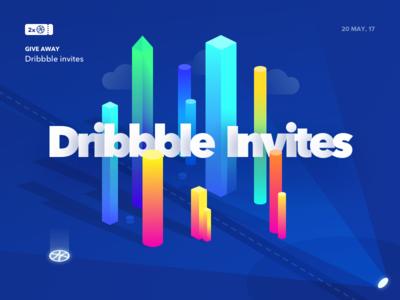 2x Dribbble invites isometric dribbble invite invitation giveaway draft