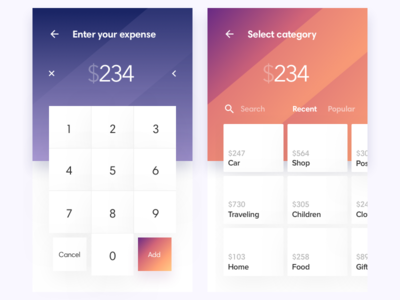 Spender category keyboard ios  mobile finance card layout budget app