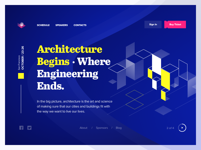 SSExpo - Header header web blue architecture expo wave isometric abstract tickets