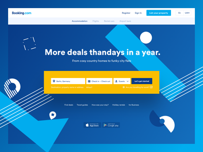 Booking redesign style look layout price main blue booking book web