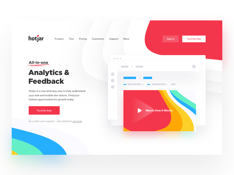 Product page - Hotjar product page landing web website app redesign