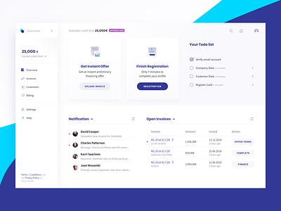 Fintech Dashboard menu ux ui design onboarding application loan design system uidesign app lending dashboard fintech finance