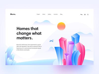 Apartment complex ux typography ui website illustration header web