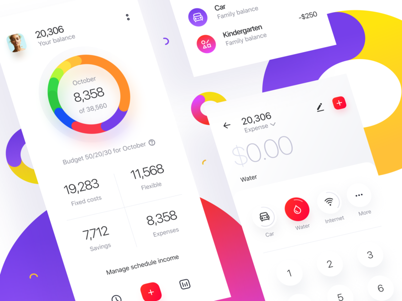 Money Tracker: Dashdoard and Add Expenses finance forecast accounting ios mobile app category stats transaction keyboard dashboad home budget expenses spending money
