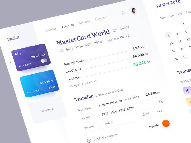 Wallet: Accounts fintech saas platform system wallet credit card transfer transaction calendar wesite web bank app accounts bank banking app banking