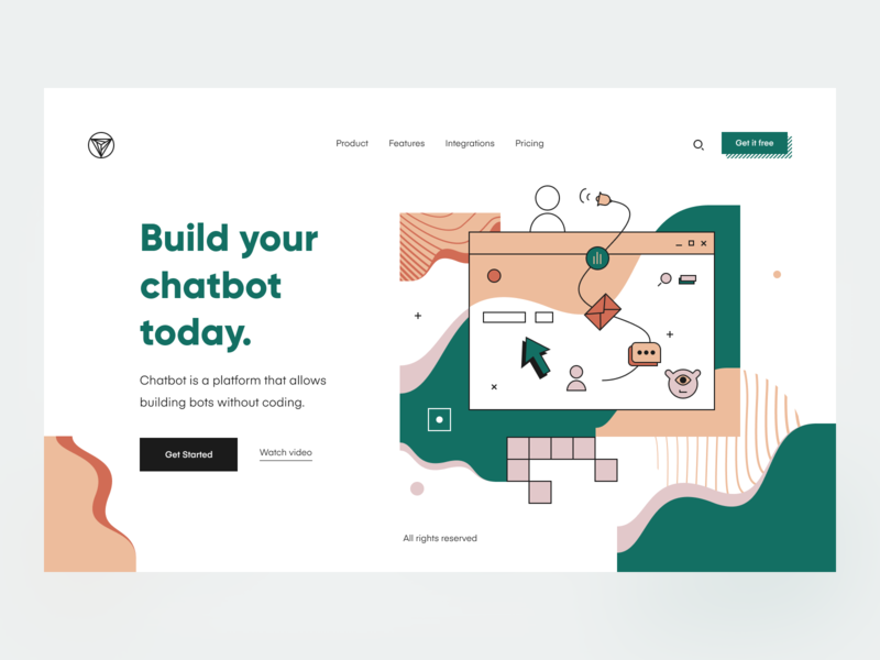 Chatbot: Header landing product page product landing page typography bot chat bot chat main page main header website web