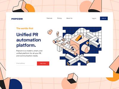 Popcom: Landing page social media platform social analytics platform app web page analytics monitoring pr communication platform media brand web landing landing page social
