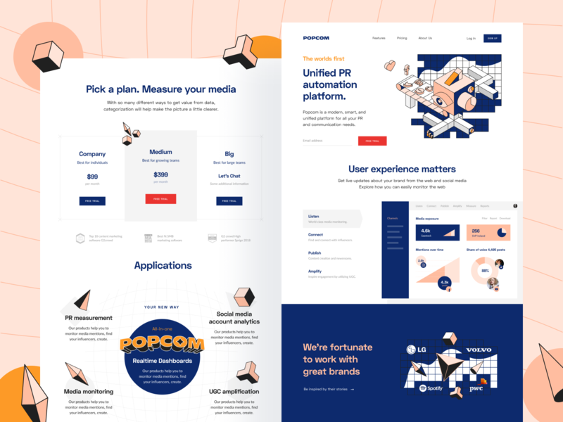 Popcom: Landing page web page web social media platform social social analytics platform pr platform monitoring media landing page landing communication brand app analytics