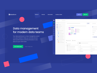 Dataform: Product page saas ide sql ide platform product page landing page website web workflow sql toolkit cloud data data warehouse warehouse sql manage storage database