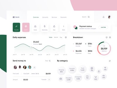 Bank: Overview web wallet transfer system spending saas platform overview metrics graph fintech expenses data dashboard card credit banking bank app accounts