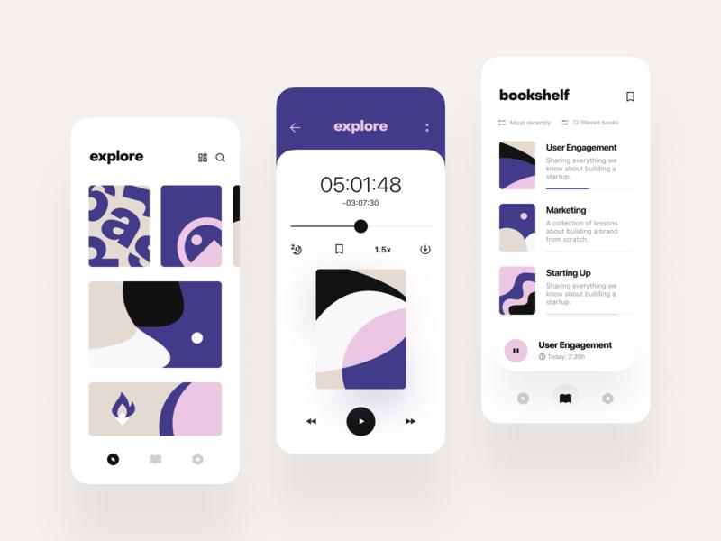 Audiobook: Explore, Player, Bookmarks ux  ui book audio mobile app ui ios