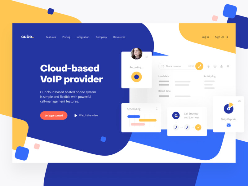 Cube: Product page product design uiux ux ui product page landing page call center crm voip phone call call-management voip main page webpage web site website web design