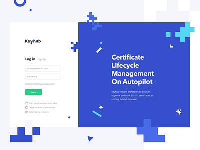 Keyhub: Login and Onboarding enterprise saas platform design system app web page web app web certificate lifecycle scan onboarding sign in log in login tls ssl certificates