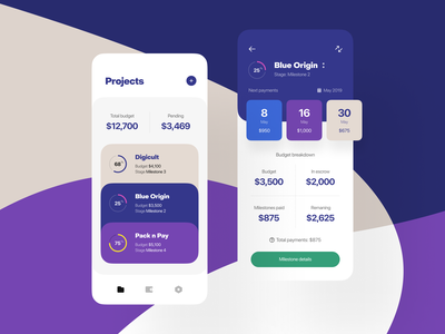 Freelancers' Bank payment plan fintech finance data status dashboard progress escrow breakdown payments payment budget milestones projects mobile app mobile ios app freelancer freelance platform