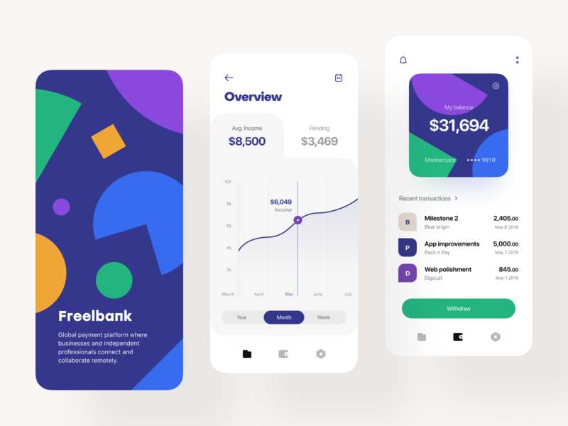 Freelancers' Bank 🎯 Splash, Overview, Wallet dashboad lend lending wallet withdraw transaction splash overview payment plan fintech finance data dashboard payment milestones mobile app mobile ios freelance