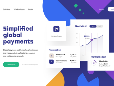 Freelancers' Bank 🎯Header fintech finance data status dashboard progress product page landing page breakdown payments payment budget milestones projects web page page web design web freelancer freelance
