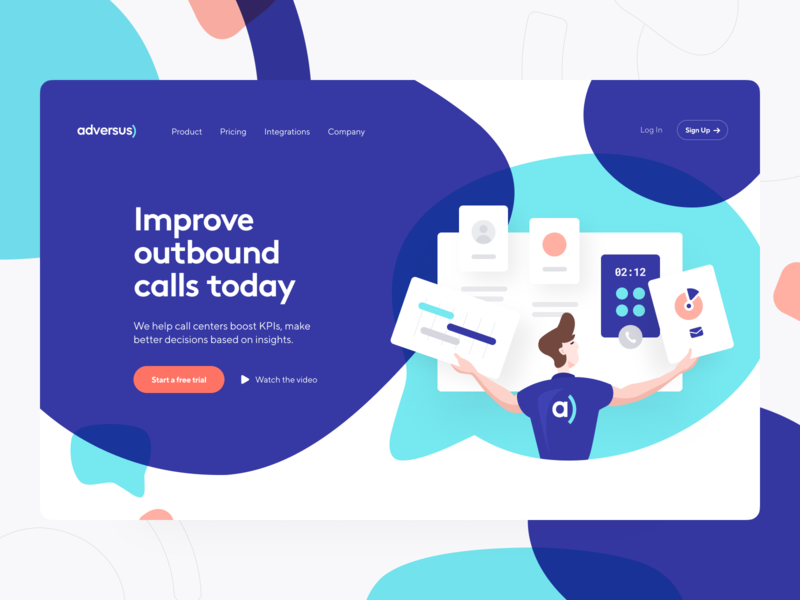 Adversus: Product Page identity visual identity digital identity website webpage web design phone web site product page product design main page landing page crm call-management call center call