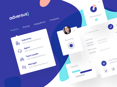 Adversus: Cards and Menu digital identity identity identity design cards menu website webpage web design phone web site product page product design main page landing page crm call-management call center call