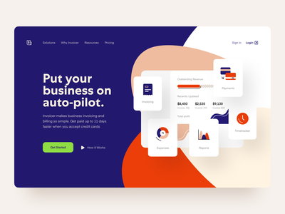 Invoicer: Product page finance fintech saas website web page web timetracker reports product page payments app payment landing page invoice header