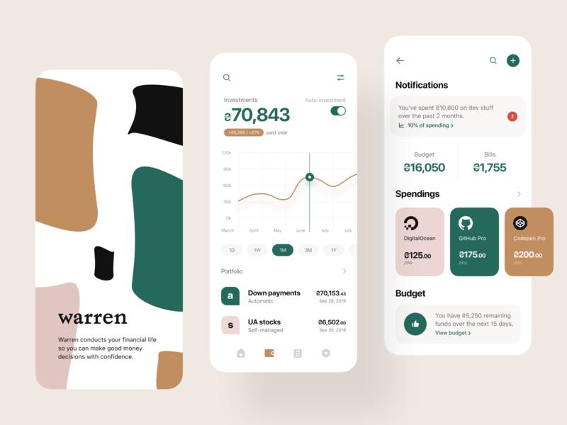 Warren: Splash, Investment, Category mobile ios app ios app design economizador de tela portfólio de despesas e-finanças serviços financeiros design de produto orçamento investimento finanças fintech banco pessoal gerenciamento de contas banco bancário