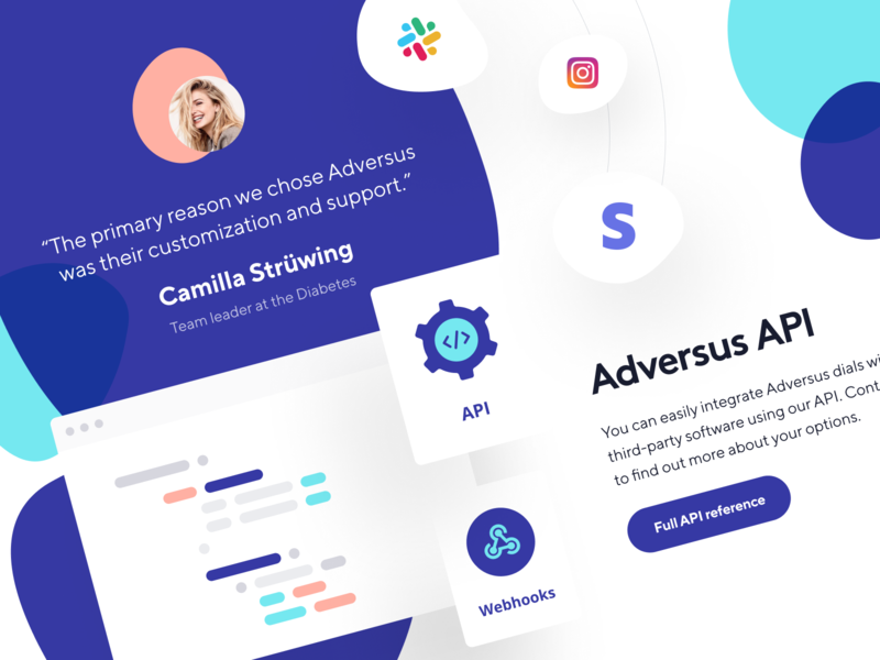 Adversus: Review and API website webpage web design phone web site product page product design main page landing page crm call-management call center call