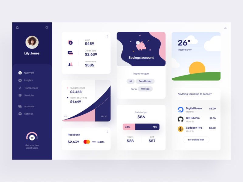 Neobank: Overview card web web app app design overview savings spendings dashboard e-finance financial services product design budget investment finance fintech personal banking account management bank banking