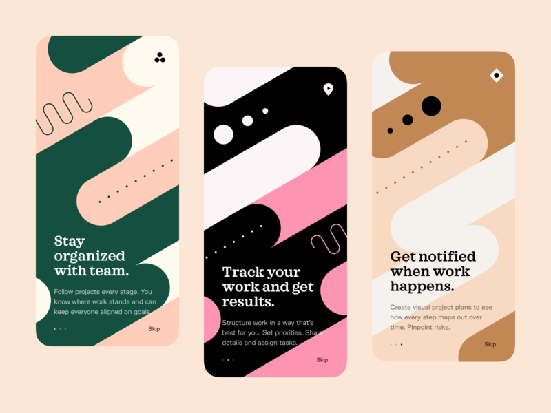 Onboarding walkthroughs typography tour splash screen onboarding mobile app mobile screens launch ios illustration guided tour app