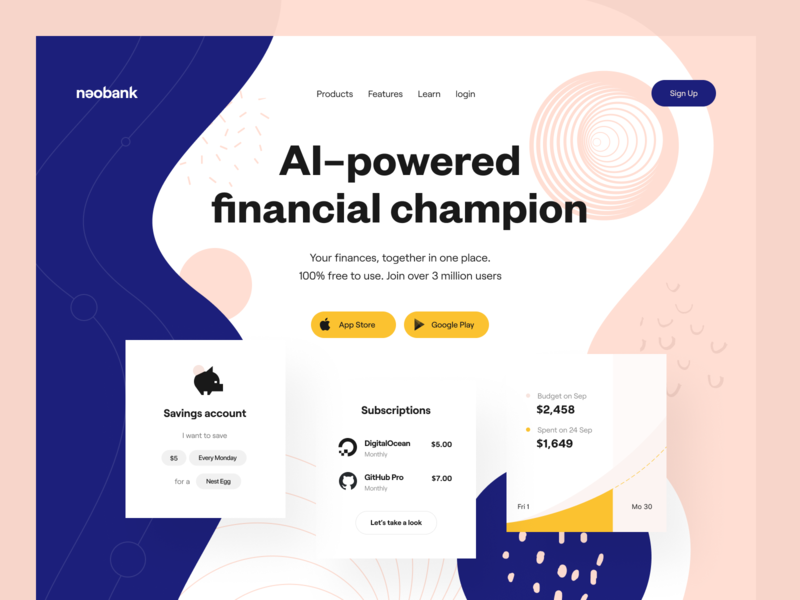 Product page: Header landing page product page web page web banking e-finance financial services money balance mobile app purchases design system budget payment fintech enterprise subscriptions savings spendings finance