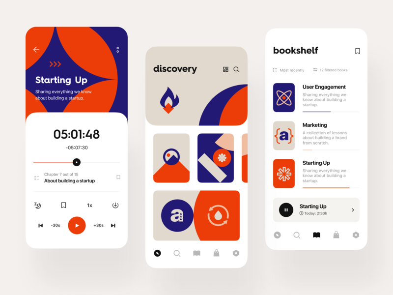 Audioshelf: Player, Discovery, Bookshelf identity design identity visual identity mobile app mobile ios app knowledge management artificial intelligence books audio audiobook reading training service subscription e-learning education edtech