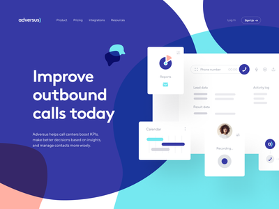 Adversus: Landing page website webpage web design visual identity site product page product design web branding main page landing page identity homepage crm call management call center