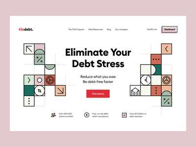 tiledebt: landing page web site webdesign web design landing customer service product page landing page website site web dashboard e-finance financial services product design budget finance fintech credit debt