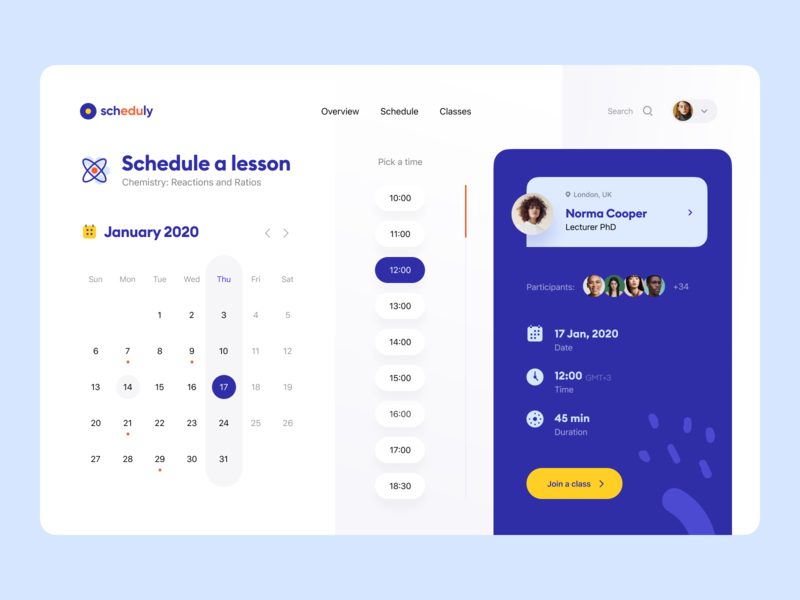 Scheduly: Join a class application visual identity identity design identity dashboard overview web app web app time calendar class lesson training service schedule teach e-learning education edtech