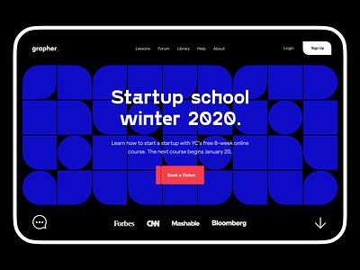 grapher: header ui design home screen home page pattern typeface page header web design webdesign website
